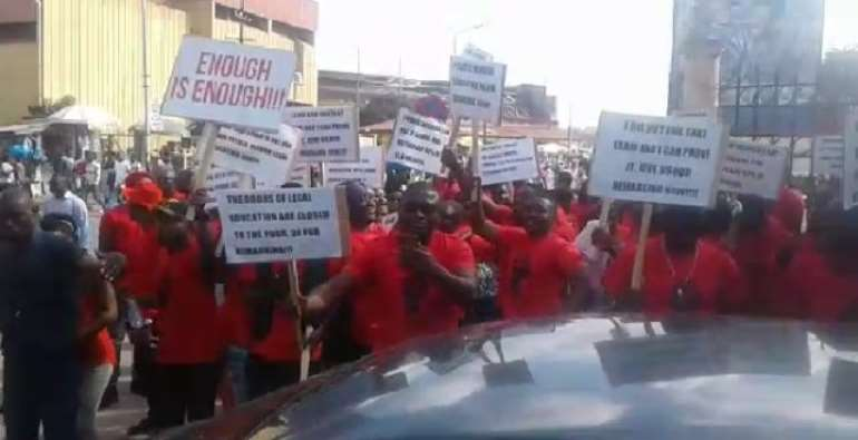 The law students took to the streets to protest the results in October this year.