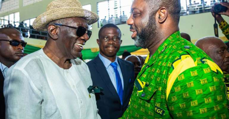 Former President Kufuor in a chat with Dr. Matthew OpokuPrempeh