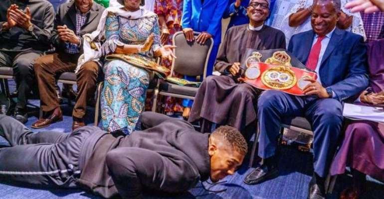 Nigeria President Muhammadu Buhari 'Floors' Boxer Anthony Joshua