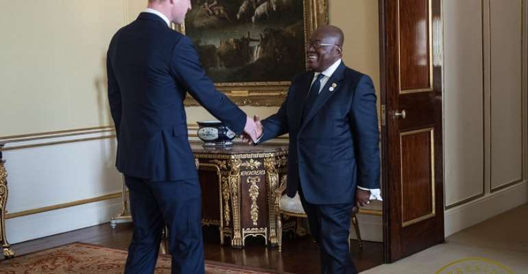 Prince William welcoming PresidentAkufo-Addo at the Summit in London