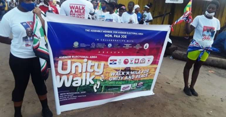 Supporters of NPP, NDC in Avenor embarks on peace walk