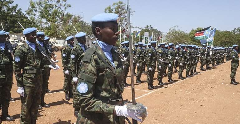 Rwandan soldiers line up to receive their UN peacekeeping medals for their work in Juba, South Sudan in 2019.  - Source: Flickr