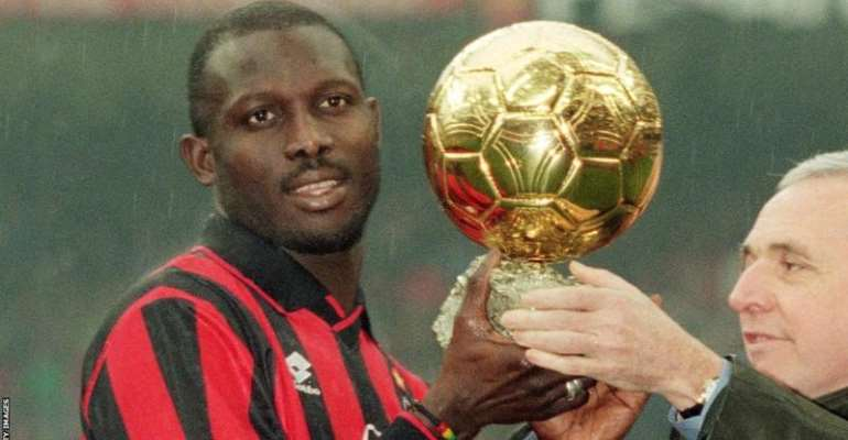Liberia's George Weah being presented the 1995 Balon d'Or