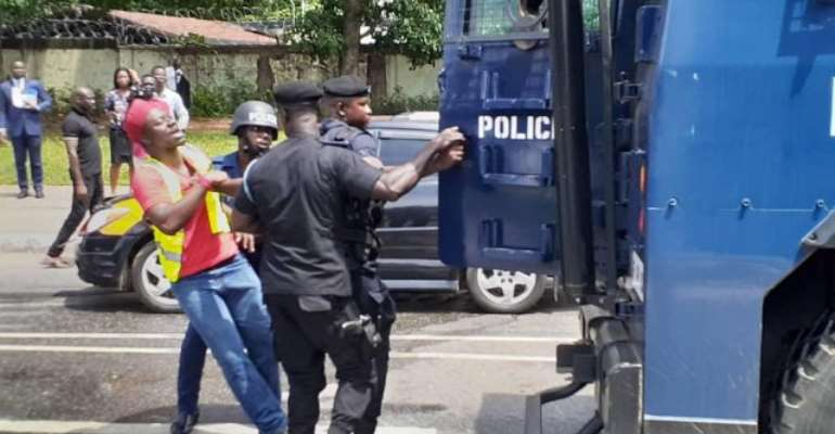 Police attacked law students who protested in Accra in October 2019