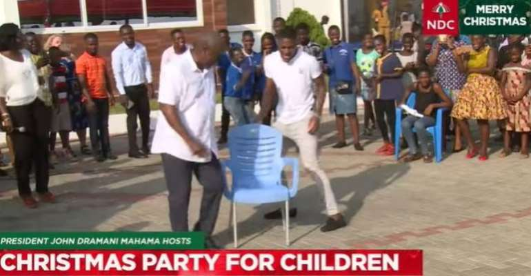 Mahama beats son to win musical chairs competition at Children's party