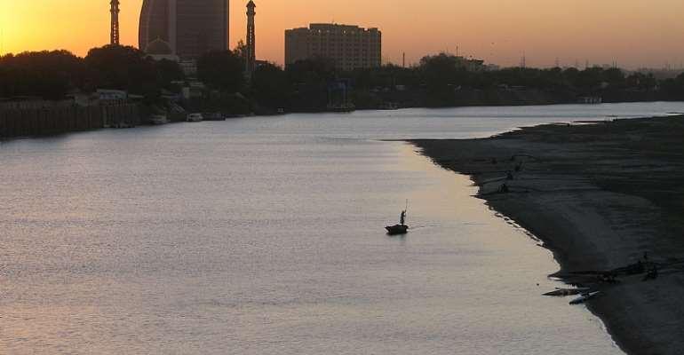 Sun setting on the Nile River in Khartoum