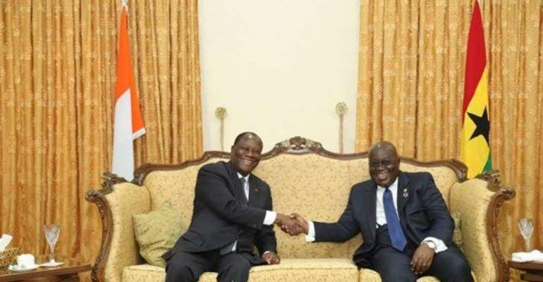 From L-R: President of Ivory Coast, Alassane Ouattara, and President of Ghana, Nana Addo Dankwa Akufo-Addo.