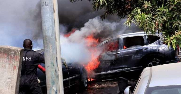 Fire Destroys V8, V6 Vehicles, Building At Osu