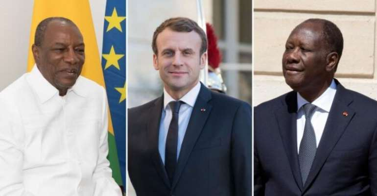 Guinea's Alpha Conde (left), French President Emmanuel Macron (Middle), and Ivory Coast's Alassane Ouattara (right)