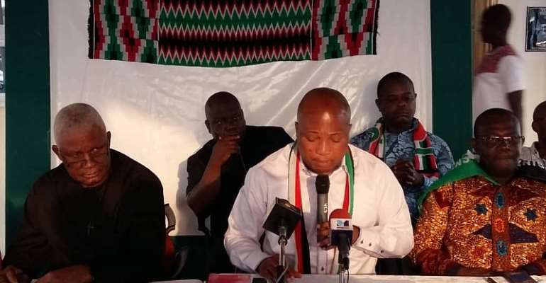 Okudzeto Ablakwa flanked by Henry Ametefe, Volta NDC Chairman and Emmanuel Korsi Bedzra (Ho West MP and Chairman of Volta Caucus in Parliament)