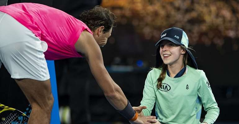 Nadal Kisses Ball Girl After Hitting Her With Wayward Forehand - 'I Was So Scared For Her'