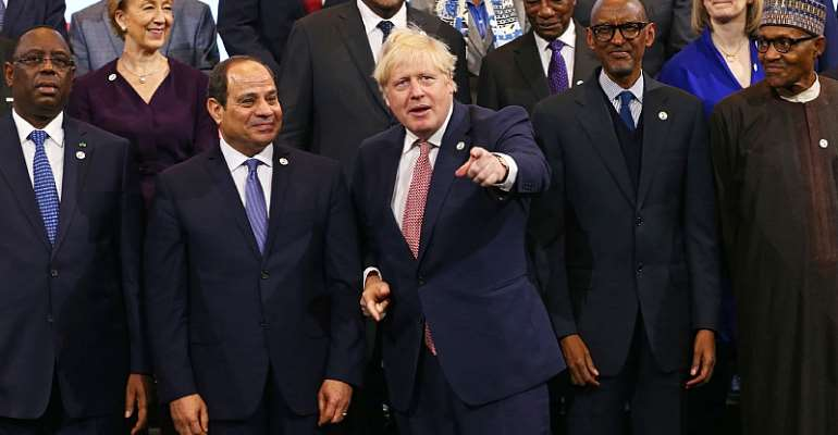 British Prime Minister Boris Johnson (centre) with a host of African leaders at the UK Africa Investment Summit in London.    - Source: EPA-EFE/Hollie Adams