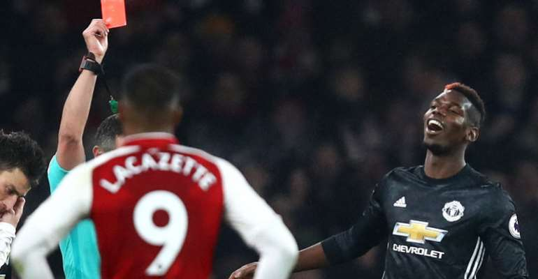 Man Utd's Paul Pogba To Serve Three-Game Ban After Red Card Vs Arsenal