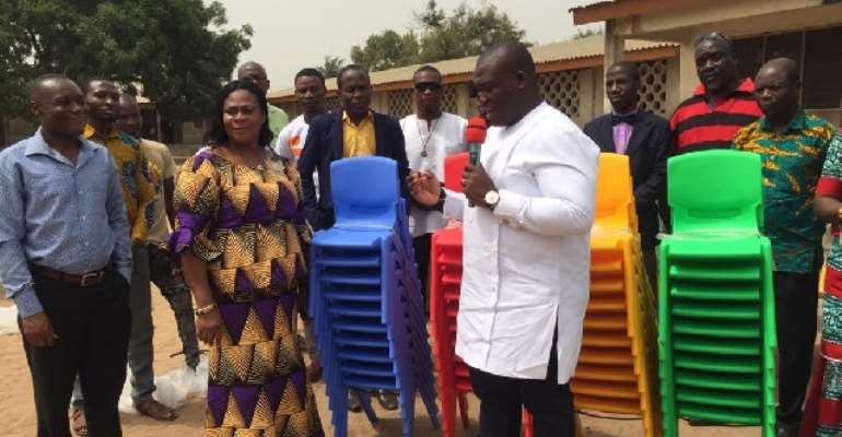 Sam George Celebrates Birthday With Donation Of 300 Chairs To Ahwiam D/A Basic School