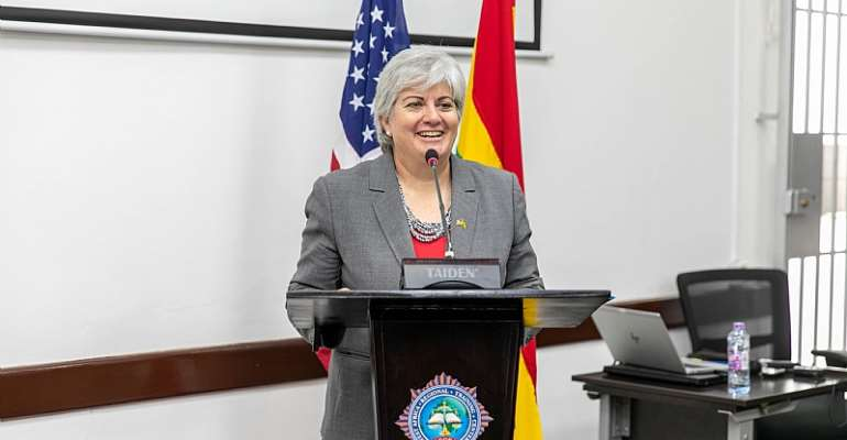 U.S. Ambassador to Ghana Stephanie S. Sullivan delivering remarks during the opening ceremony of the 6th Security Governance Initiative Steering Committee Meeting on Wednesday, January 22, 2020.
