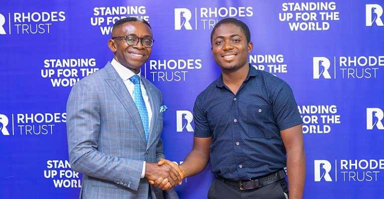 Rhodes National Secretary for West Africa, Ike Chioke with 2020 Rhodes Scholar-Elect, Godwin Nwangele