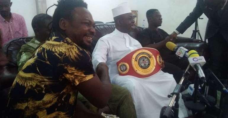 Bastie Samir Presents PBC Light Heavyweight Title To Alhaji Inusah Sally