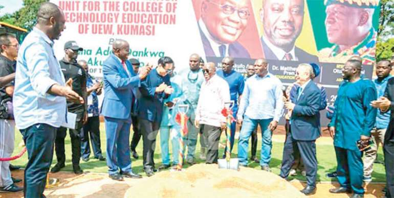 President Akufo-Addo, Napo and other officials during the sod-cutting ceremony
