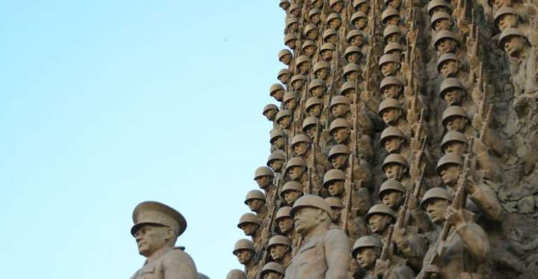 ''Turkish officers are followers of Ataturk as secular, western-minded officers'' - the motto on the monument in War Academy, Ankara.