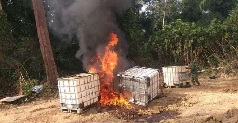 Some of the fuel storage tankers set ablaze at the Oda Forest Reserve