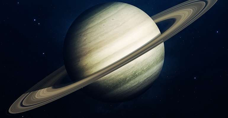 Saturn is one of a few planets in our solar system surrounded by rings. - Source: Vadim Sadovski/Shutterstock/Elements of this image furnished by NASA