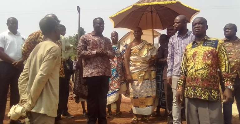 Baffour Awuah (middle), Chiraa hene and others inspecting projects at Chiraa SHS
