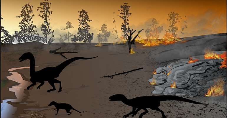 Reconstruction of the ancient environment at the Highlands trace fossil site about 183 million years ago.   - Source: Artwork by Akhil Rampersadh. Heterodontosaurid silhouette is courtesy of Viktor Radermacher.