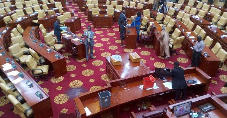 Parliament leaks amidst rainstorm; roof partly ripped off
