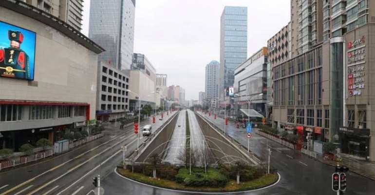 Empty streets in Wuhan, Hubei province, China Jan. 26, 2020.