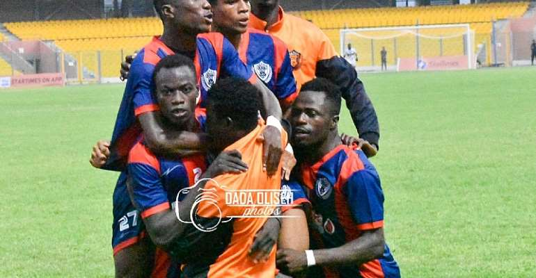 Legon Cities FC players celebrating a goal against Bechem United in the Ghana Premier League