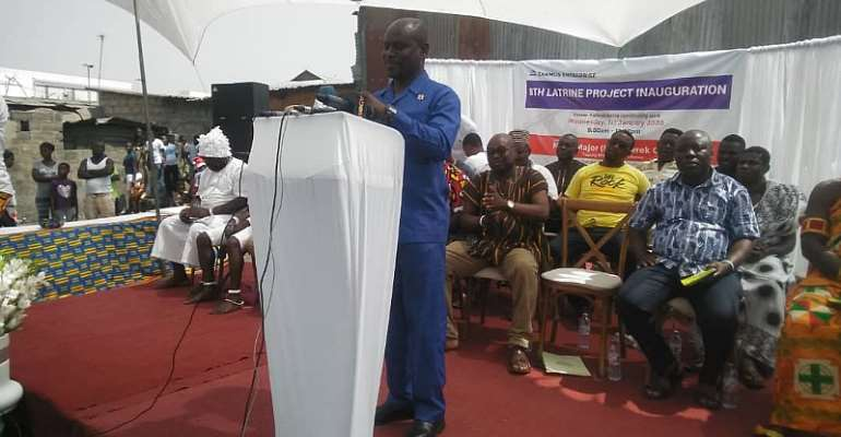 Major Oduro cutting delivering a speech to inaugurate the residential facility
