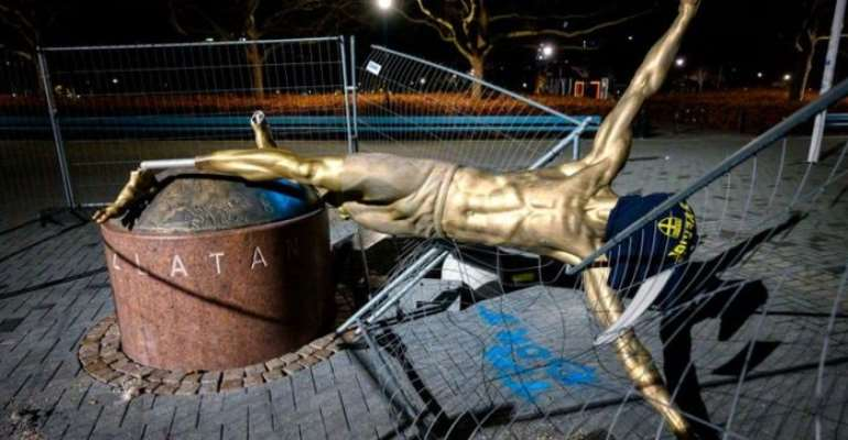 Zlatan Ibrahimovic Statue Cut Down By Vandals In Latest Attack