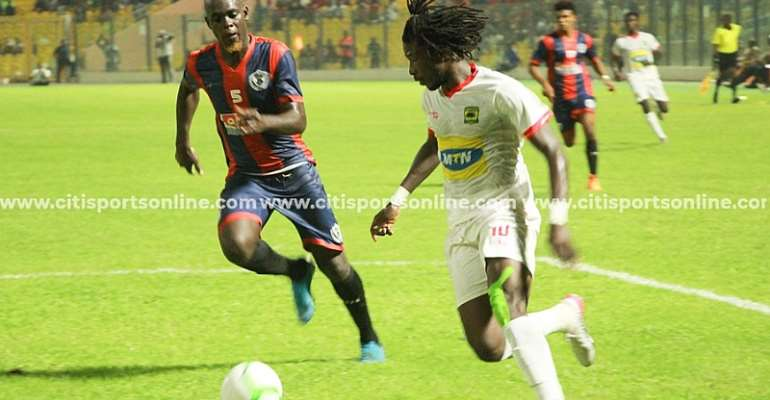 Sogne Yacouba in action against Legon Cities FC last Friday at the Accra Sports Stadium