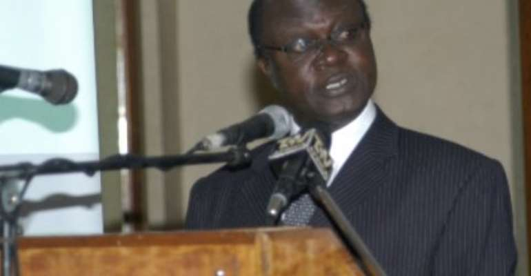 Dr George Gyan Baffour, Deputy Minister for Finance and Economic Planning, addressing a conference.