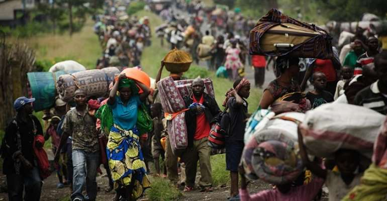 Congolese refugees fleeing from Ebola and violence to neighbouring Uganda