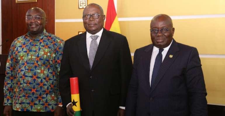 The Vice-president, Bawumia, the Special Prosecutor, Amidu and the Ghanaian president, Akufo Addo, photo credit: Ghana media