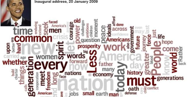 Key words used by President Barack Obama in his inaugural address.