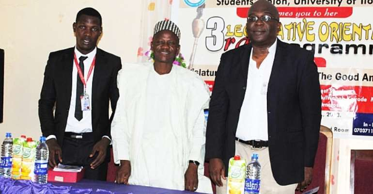 L-R: The Speaker Of The Students' Representative Council, University Of Ilorin, Rt. Hon. Mumeen Kabir Alawaye; The Guest Lecturer, Hon. Abdul Wahab Omotoshe And The Dean, Student Affairs Unit Of The University, Prof. Abayomi Omotesho During The Programme