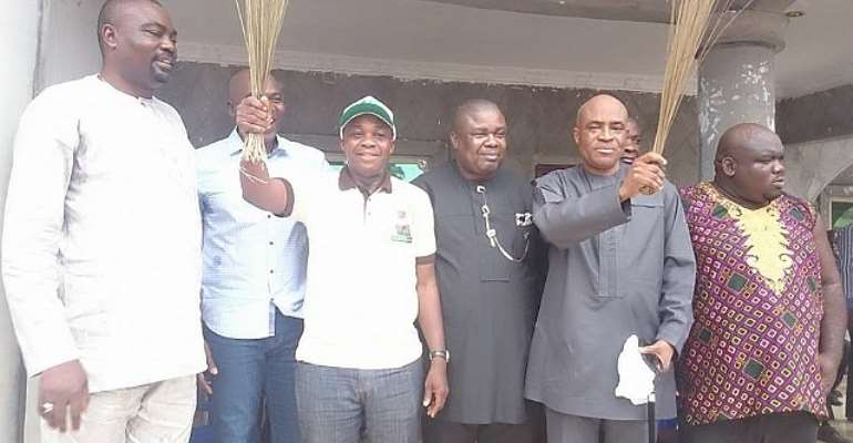 Chief Ikebidi [1st From Left], Barr. Maduenyi [3rd From Left] And Chief Nweye [2ndfrom Right]