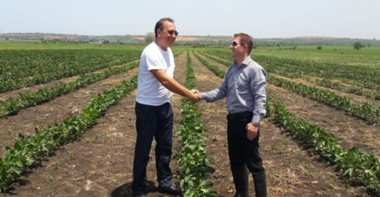 Mr.  Michael Glynn Right And Mr. Alexander Stoica Right In A Handshake At Fast Fresh Farms As A Symbol Of Determination To Contribute To Food Security In Ghana