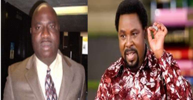 *Moshood Fayemiwo (l) picture which Mr. TB Joshua (R) asked for at the Synagogue of Satan in order to attack me in the spiritual world.