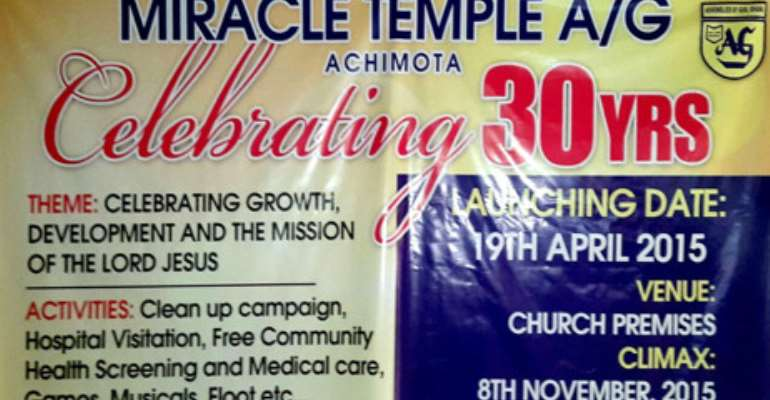 Miracle Temple Assemblies Of God Church Launched 30th Anniversary Celebration