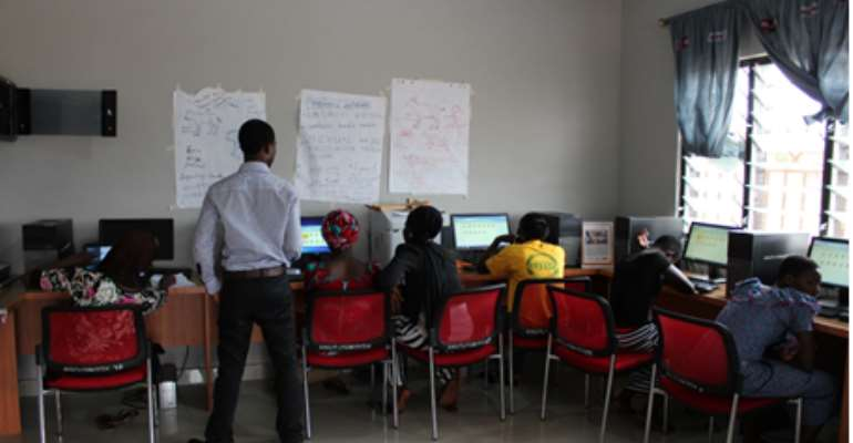 Participants engage in a hands-on computer skills, email and internet training for development at the AAG Young Urban Women Resource Centre Tamale-Ghana