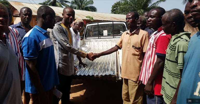 CENAB UK Donates Roofing Sheets To Displaced Residents In Sene West Constituency