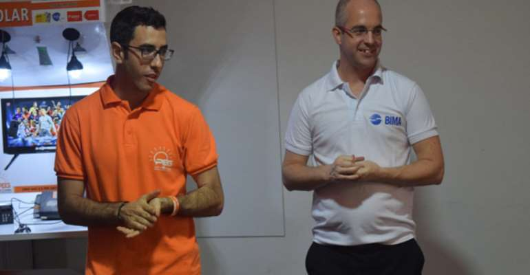 Simone Vaccari (left)and Russel Haresign addressing the media