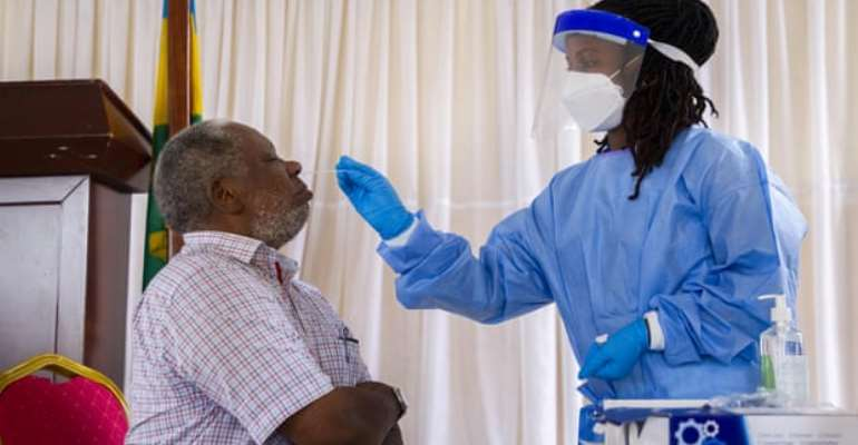 People aged over 70 receive free Covid testing in Kigali, Rwanda, in January. Photograph: Xinhua/Rex/Shutterstock