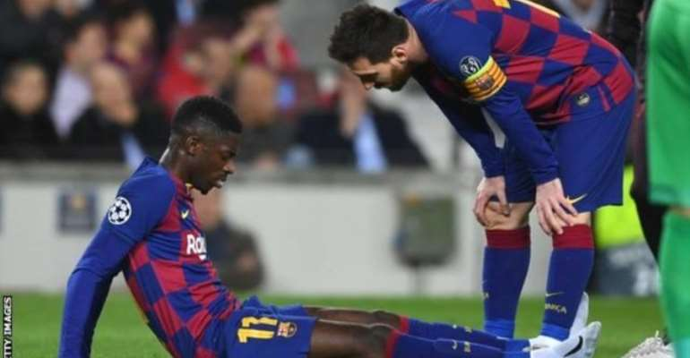 Ousmane Dembele was consoled by Lionel Messi after injuring his thigh against Borussia Dortmund
