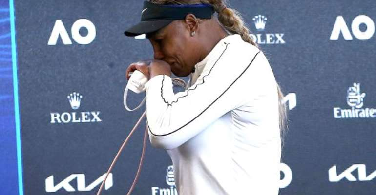 Serena Williams in tears during her post-match press conference after losing to Naomi Osaka at the 2021 Australian Open  Image credit: Eurosport
