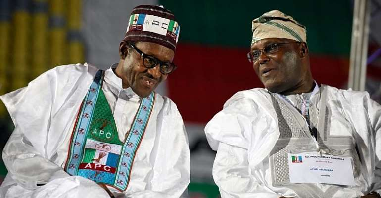 The two leading candidates in Nigeria's Presidential election. On the left-President Muhammadu Buhari (APC). On the right-Atiku Abubakar (PDP)