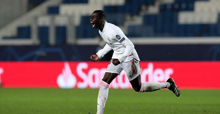 Ferland Mendy of Real Madrid celebrates after scoring their side's first goal during the UEFA Champions League Round of 16 match between Atalanta and Real Madrid at Gewiss Stadium on February 24, 2021 in Bergamo, Italy  Image credit: Getty Images